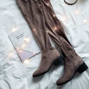 Forever 21 Shoes - Taupe Over the Knee boots